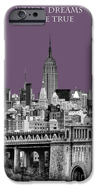 The New York New York iPhone Cases - The Empire State Building Plum iPhone Case by John Farnan
