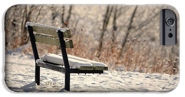 Snowy Day Digital Art iPhone Cases - The Empty Bench iPhone Case by Maria Angelica Maira