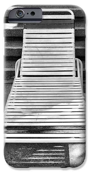 Lawn Chair iPhone Cases - THE EMPTY CHAISE Palm Springs iPhone Case by William Dey
