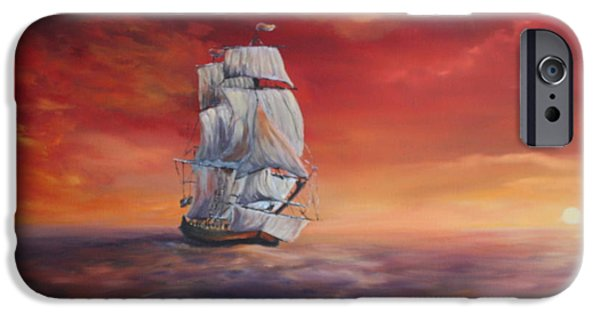 Pirate Ship iPhone Cases - The Endeavour on Calm Seas iPhone Case by Jean Walker