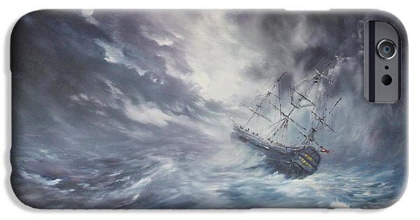 Recently Sold -  - Sailing iPhone Cases - The Endeavour on Stormy Seas iPhone Case by Jean Walker