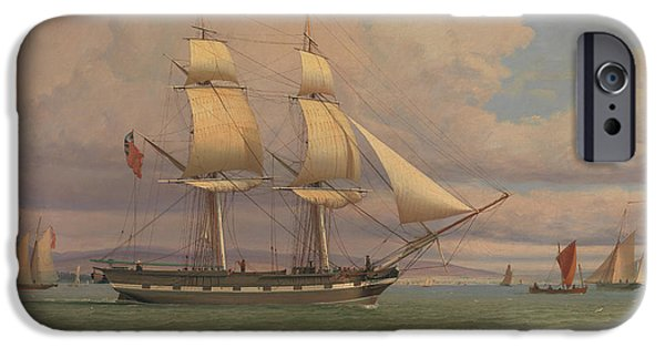 Brig iPhone Cases - The English Brig Norval before the Wind iPhone Case by William Clark