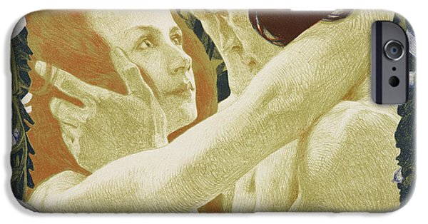 Women Together Paintings iPhone Cases - The Enigma iPhone Case by Henri Jules Ferdinand Bellery-Defonaines