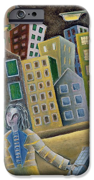 Office Block iPhone Cases - The Enigma Of Departure, 1989 Oil On Board iPhone Case by Celia Washington
