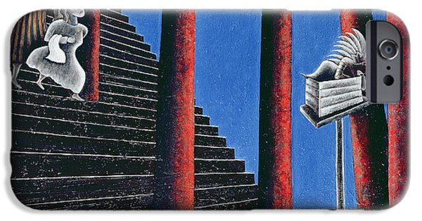 Staircase iPhone Cases - The Enigma Of Descent, 1993 Oil On Canvas iPhone Case by Celia Washington