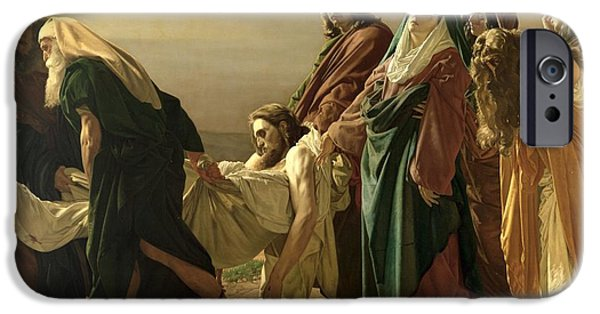 Evangelist iPhone Cases - The Entombment, 1883 Oil On Canvas iPhone Case by Antonio Ciseri