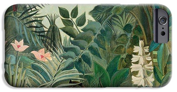 Hiding iPhone Cases - The Equatorial Jungle iPhone Case by Henri Rousseau