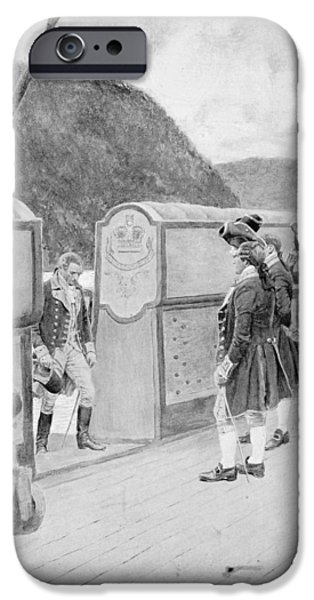 War Of Independence iPhone Cases - The Escape Of Arnold On The British Sloop-of-war Vulture, Illustration From General Washington iPhone Case by Howard Pyle