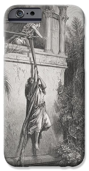 Religious Drawings iPhone Cases - The Escape of David through the Window iPhone Case by Gustave Dore