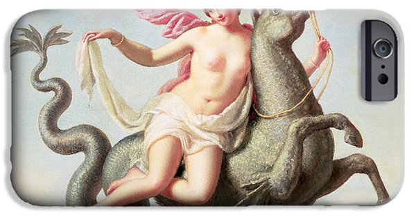 Sea Horse iPhone Cases - The Escape Of Galatea Panel iPhone Case by Michelangelo Maestri