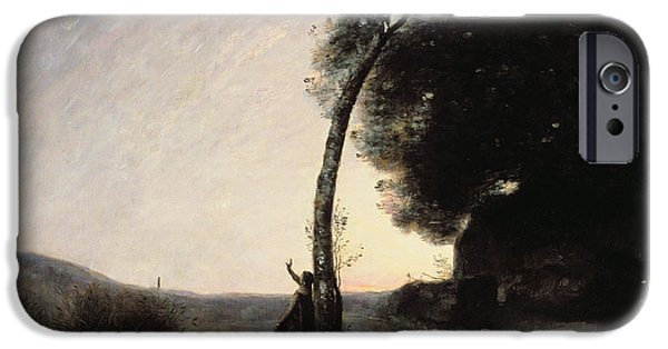 Stargazing Paintings iPhone Cases - The Evening Star iPhone Case by Jean Baptiste Camille Corot