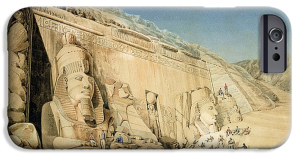 Ancient Paintings iPhone Cases - The Excavation of the Great Temple of Ramesses II iPhone Case by Louis MA Linant de Bellefonds