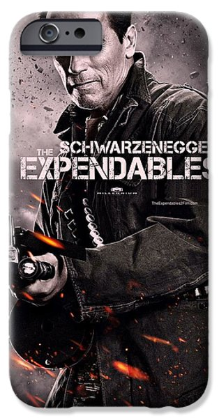 Sylvester Stallone iPhone Cases - The Expendables 2 Schwarzenegger iPhone Case by Movie Poster Prints