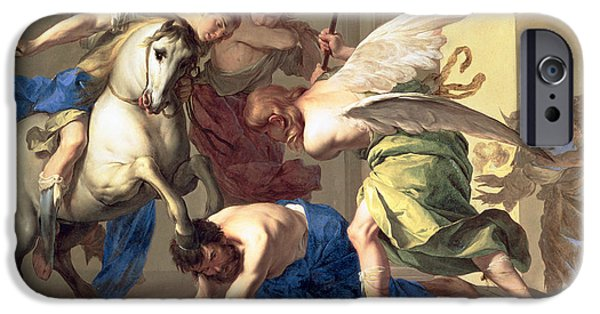Temple Paintings iPhone Cases - The Expulsion of Heliodorus from the Temple iPhone Case by Bernardo Cavallino
