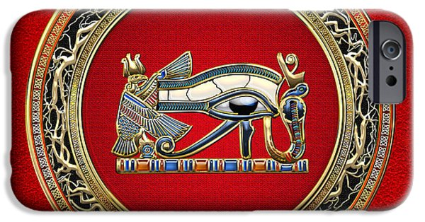 Horus Digital Art iPhone Cases - The Eye of Horus iPhone Case by Serge Averbukh