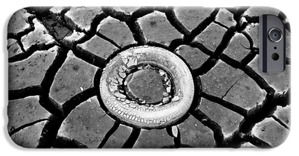 Dry Lake Photographs iPhone Cases - The eye of the lake black and white iPhone Case by Teri Schuster
