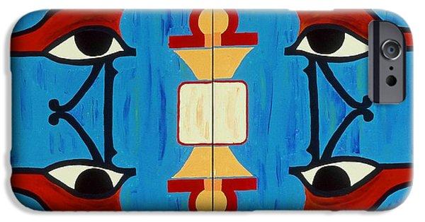 Horus Paintings iPhone Cases - The Eyes of Heru iPhone Case by Karen Buford