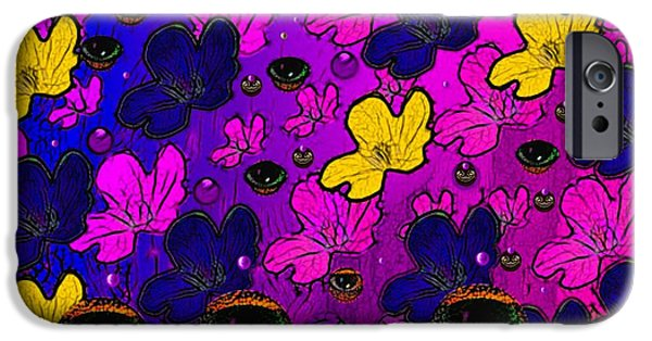 Contemplative Mixed Media iPhone Cases - The eyes of mother nature serve and protect iPhone Case by Pepita Selles