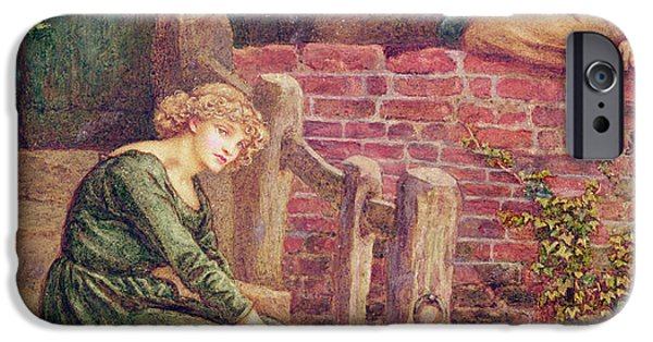 Thinking iPhone Cases - The Fable Of The Girl And Her Milk Pail Wc On Paper iPhone Case by Kate Greenaway