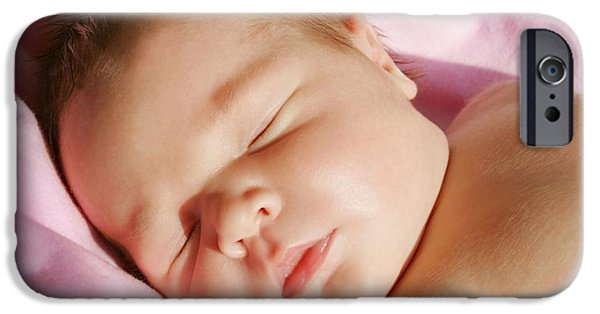Innocence iPhone Cases - The Face Of A Sleeping Baby iPhone Case by Christine Mariner
