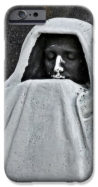 Headstones iPhone Cases - The Face of Death - Graceland Cemetery Chicago iPhone Case by Christine Till
