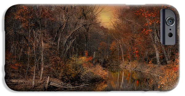 Blackstone River iPhone Cases - The Fading Glow of Fall iPhone Case by Robin-lee Vieira