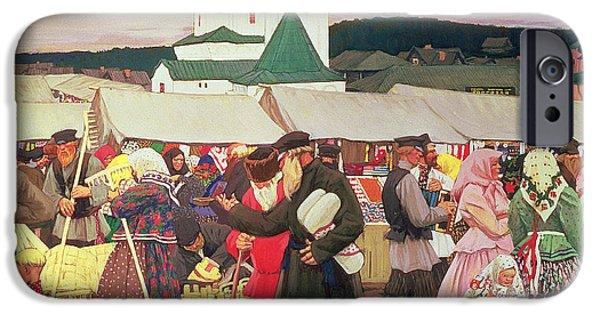 Rake iPhone Cases - The Fair, 1906 Oil On Canvas iPhone Case by Boris Mihajlovic Kustodiev
