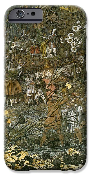 Midsummer iPhone Cases - The Fairy Feller Master Stroke iPhone Case by Richard Dadd