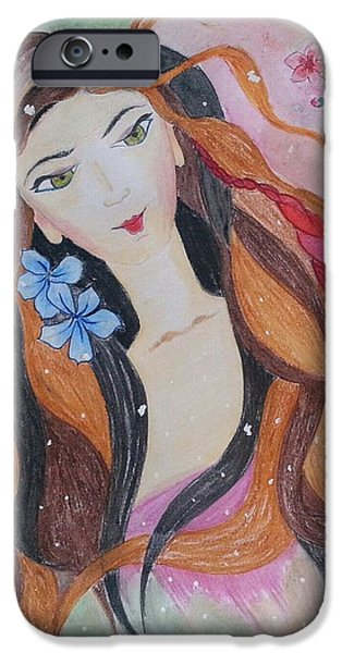 Cherry Blossoms Drawings iPhone Cases - The Fairy iPhone Case by Vidya Vivek