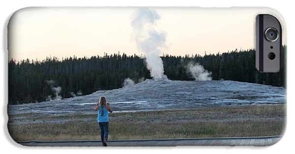 Little iPhone Cases - The Faithful Waiting for Old Faithful iPhone Case by Margo Miller