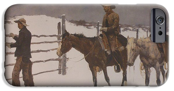 Snow Scene iPhone Cases - The Fall Of The Cowboy iPhone Case by Frederic Remington