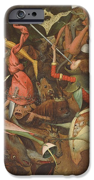 Figure iPhone Cases - The Fall Of The Rebel Angels, 1562 Oil On Panel Detail Of 74037 iPhone Case by Pieter the Elder Bruegel