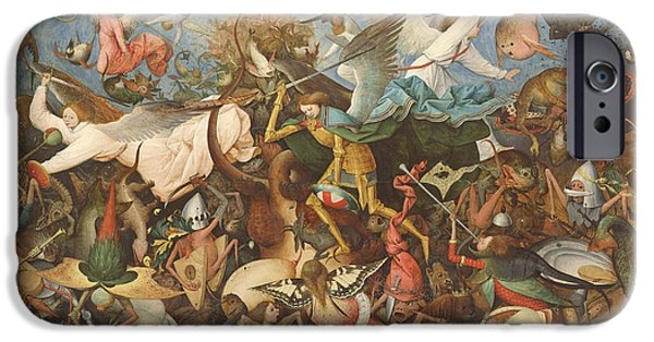 Figures iPhone Cases - The Fall Of The Rebel Angels, 1562 Oil On Panel iPhone Case by Pieter the Elder Bruegel