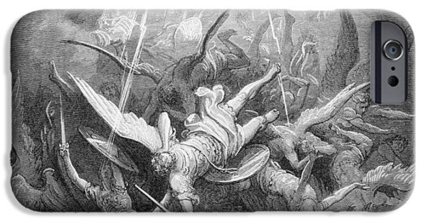 Fallen Angels iPhone Cases - The Fall of the Rebel Angels iPhone Case by Gustave Dore