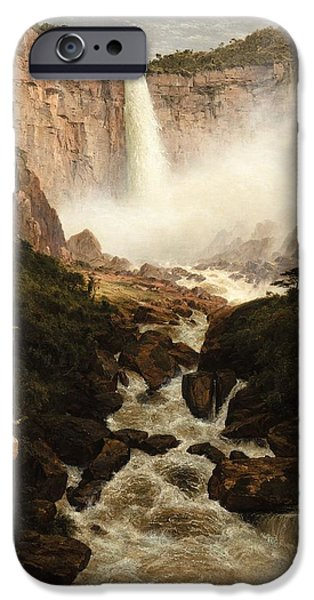 Mist iPhone Cases - The Falls Of The Tequendama Near Bogota, New Granada, 1854 Oil On Canvas iPhone Case by Frederic Edwin Church