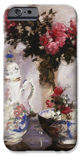 """indoor"" Still Life Paintings iPhone Cases - The Famille Rose Coffee Pot iPhone Case by Francis Campbell Boileau Cadell"