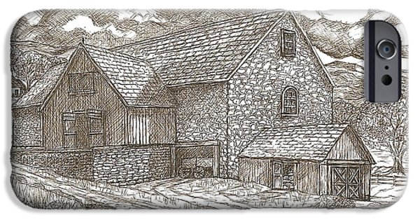 Sepia Ink Drawings iPhone Cases - The Family Farm - Sepia Ink iPhone Case by Carol Wisniewski