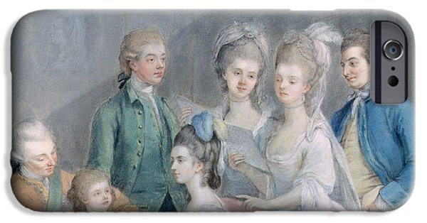 Piano iPhone Cases - The Family Of Charles Schaw, 9th Baron Cathcart 1721-76 Pastel On Paper iPhone Case by Johann Zoffany