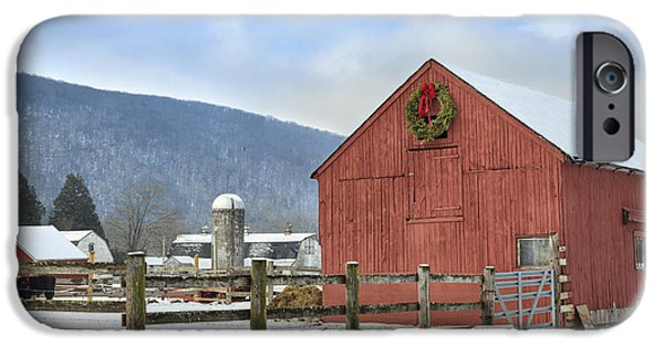 Rural Snow Scenes iPhone Cases - The Farm iPhone Case by Bill  Wakeley