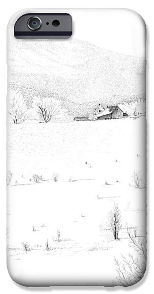 Best Sellers -  - Pen And Ink Of Barn iPhone Cases - The Farm iPhone Case by Carl Genovese