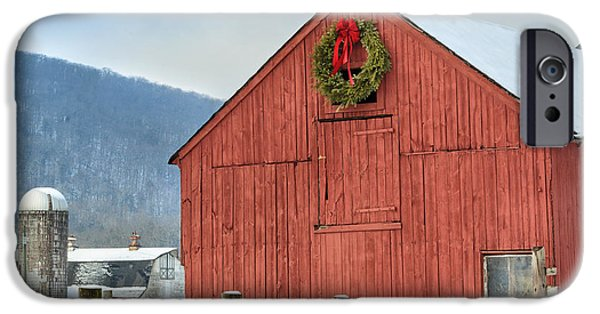 Winter Scene iPhone Cases - The Farm Square iPhone Case by Bill  Wakeley