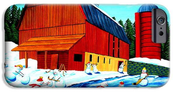 Hockey Paintings iPhone Cases - The Farm Team iPhone Case by Anthony Dunphy