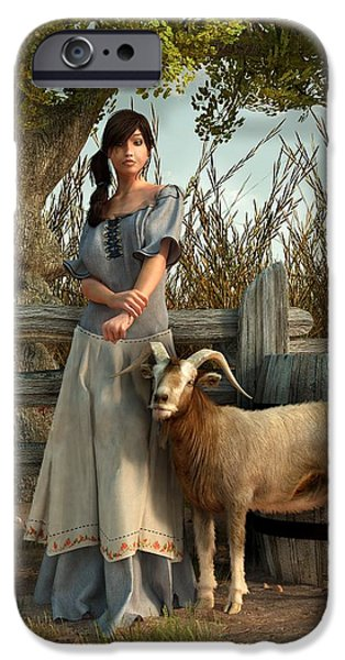 Barnyard Digital Art iPhone Cases - The Farmers Daughter iPhone Case by Daniel Eskridge
