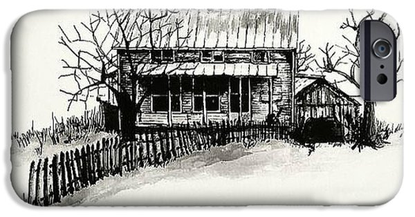 Shed Drawings iPhone Cases - The Farmhouse iPhone Case by Terry Ganey