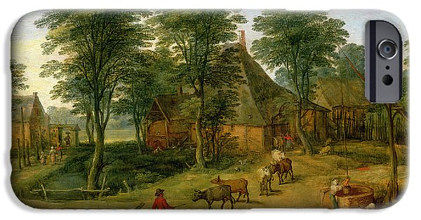 Laundry Paintings iPhone Cases - The Farmyard iPhone Case by Jan the Younger Brueghel