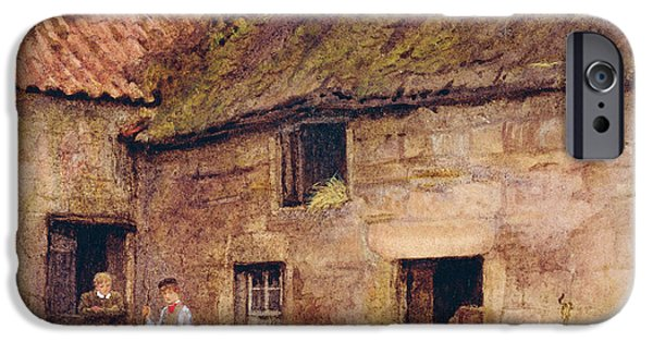 Farm iPhone Cases - The Farmyard Wc On Paper iPhone Case by Helen Allingham
