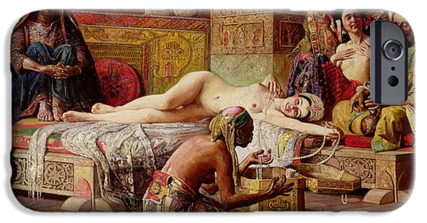 Slave Paintings iPhone Cases - The Favorite of the Harem iPhone Case by Gyula Tornai
