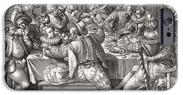 Seventeenth Century iPhone Cases - The Feast, After A 17th Century Engraving By N. De Bruyn.  From Illustrierte Sittengeschichte Vom iPhone Case by Bridgeman Images