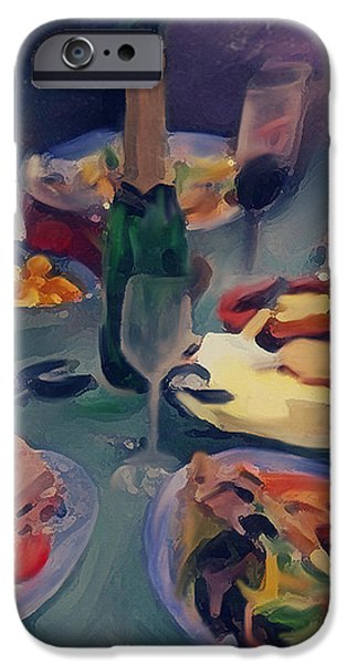 Table Wine Mixed Media iPhone Cases - The Feast iPhone Case by Dennis Buckman