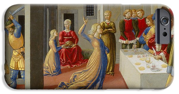 Baptist Paintings iPhone Cases - The Feast of Herod and the Beheading of Saint John the Baptist iPhone Case by Benozzo di Lese di Sandro Gozzoli
